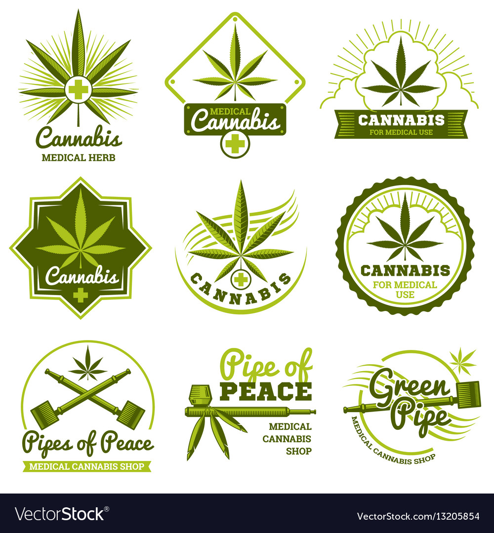 Hashish rastaman hemp cannabis logos and vector image