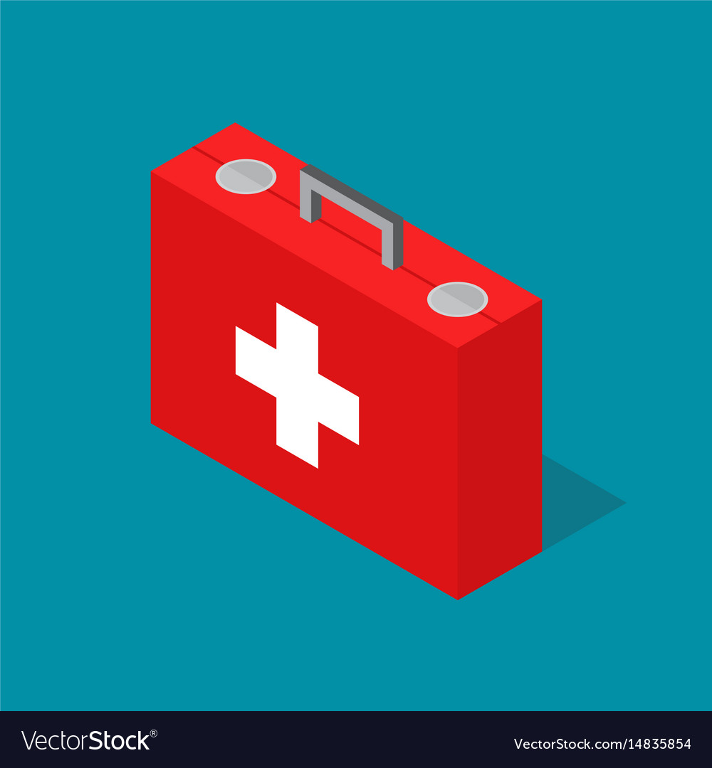 Medical case first aid kit isometric view