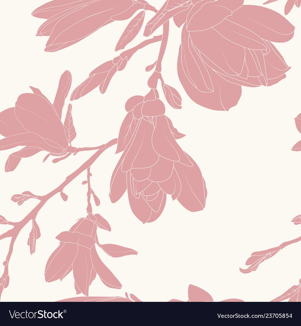 Pink magnolia silhouette flowers minimalist
