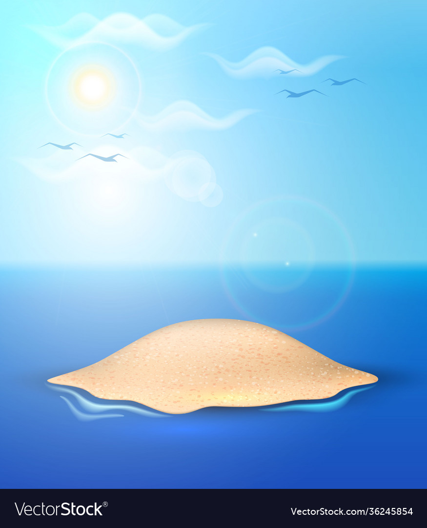 Realistic summer sand island ocean sea sky