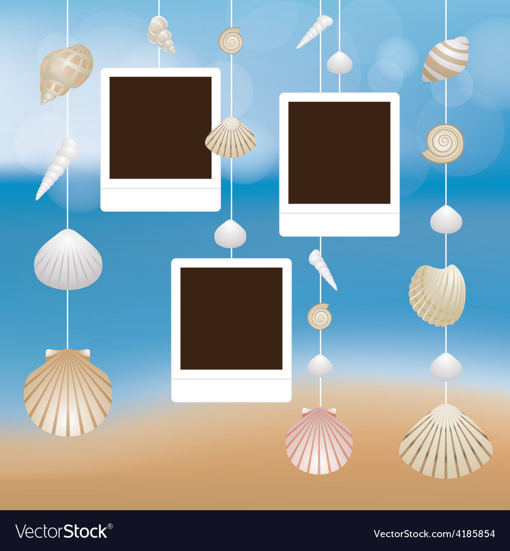 Sea Shell and Frame Hanging Mobile Blur Background