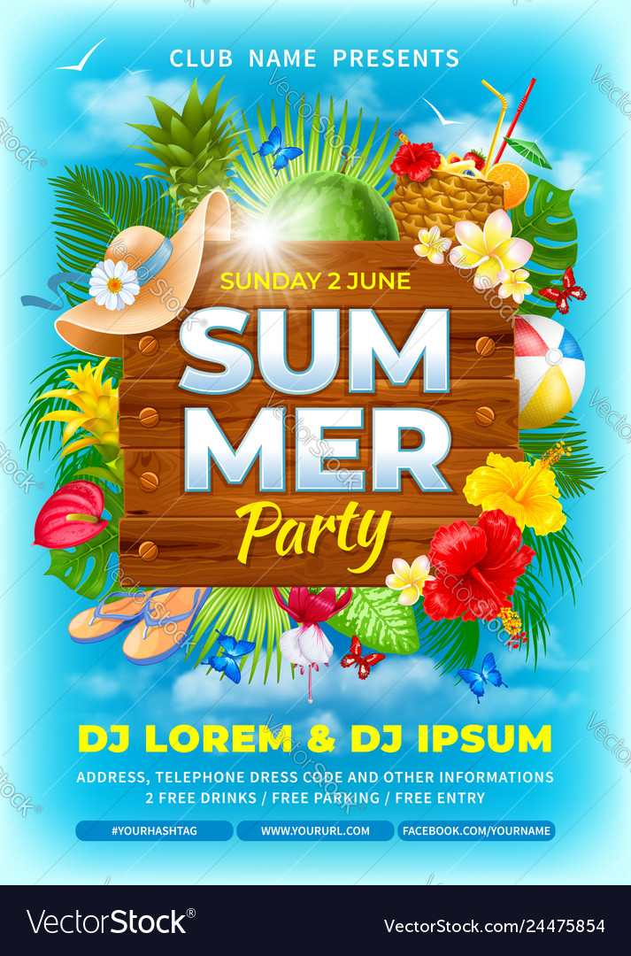 Summer beach party advertisement poster template Vector Image