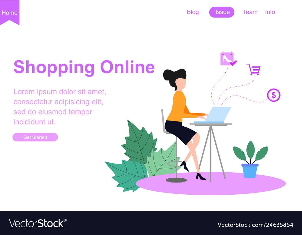 Web page template for shopping online