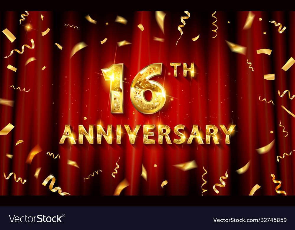 16 years anniversary logo template