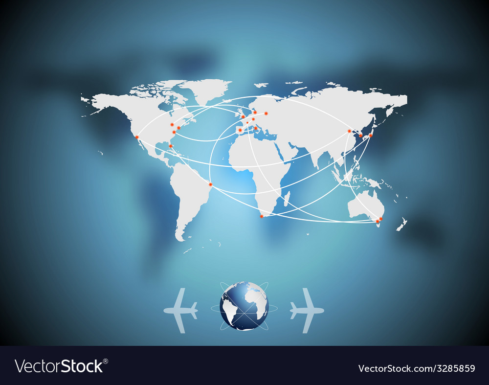 Air traffic background with world map royalty free vector air traffic background with world map vector image gumiabroncs Images