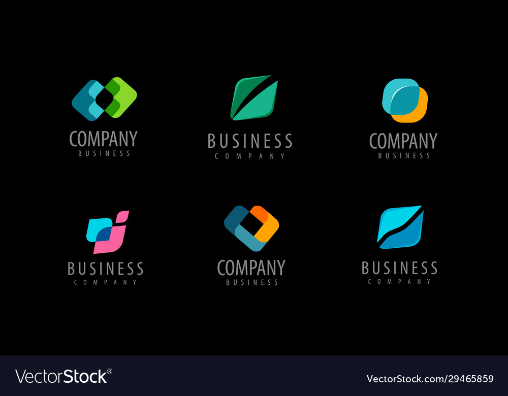 Business set abstract colorful logos icons