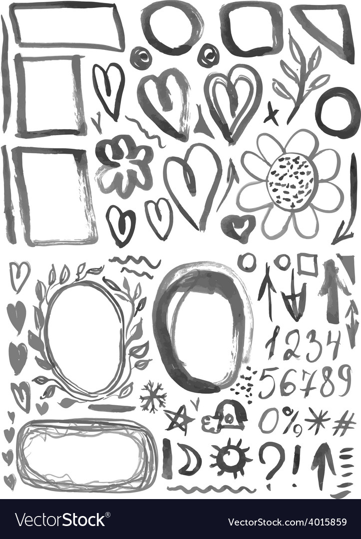 Characters frames figures heart arrow black ink