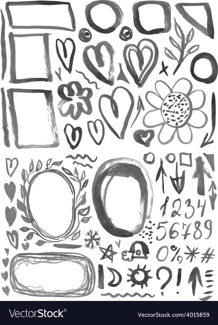 Characters frames figures heart arrow black ink vector image