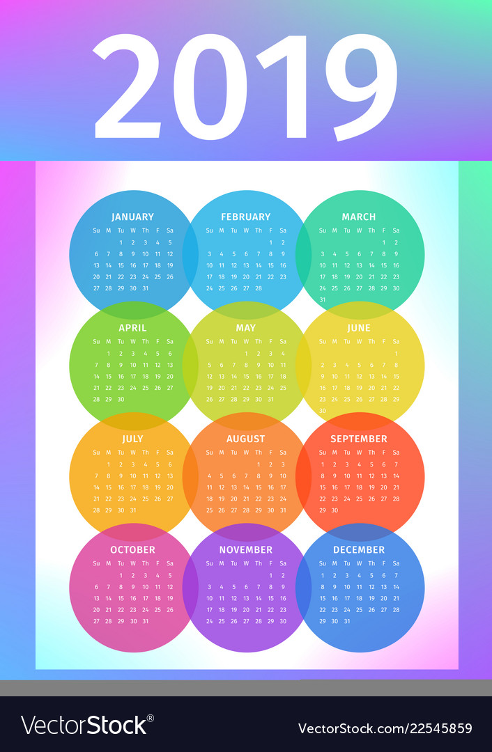 Colorful 2019 calendar from multicolored circles
