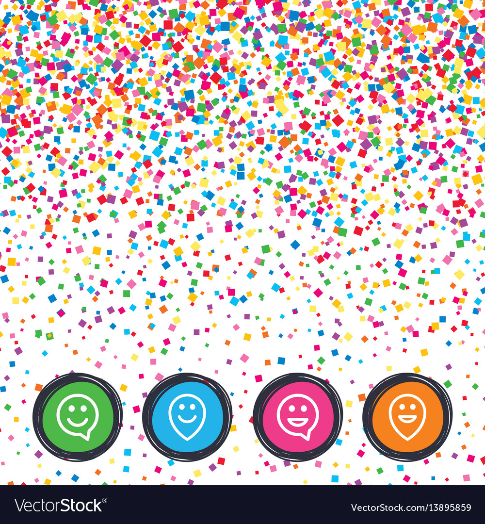 Happy Face Speech Bubble Icons Pointer Symbol Vector Image