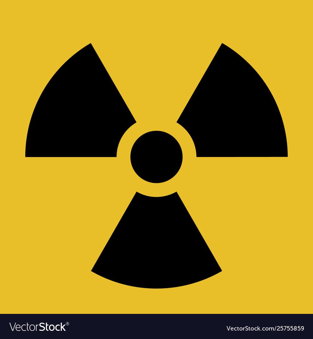 Radiation warning symbol black and yellow