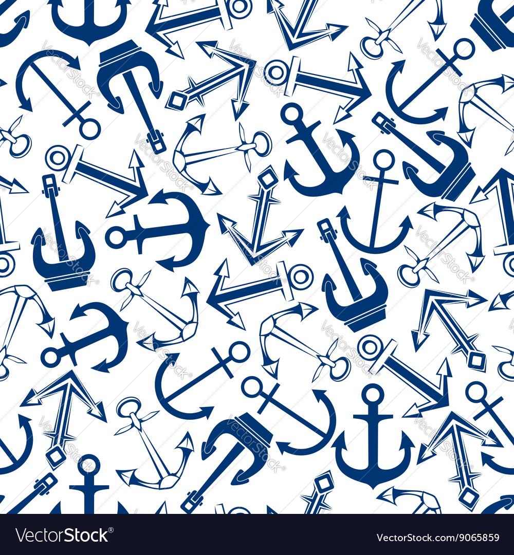 Retro nautical blue anchors seamless pattern vector image