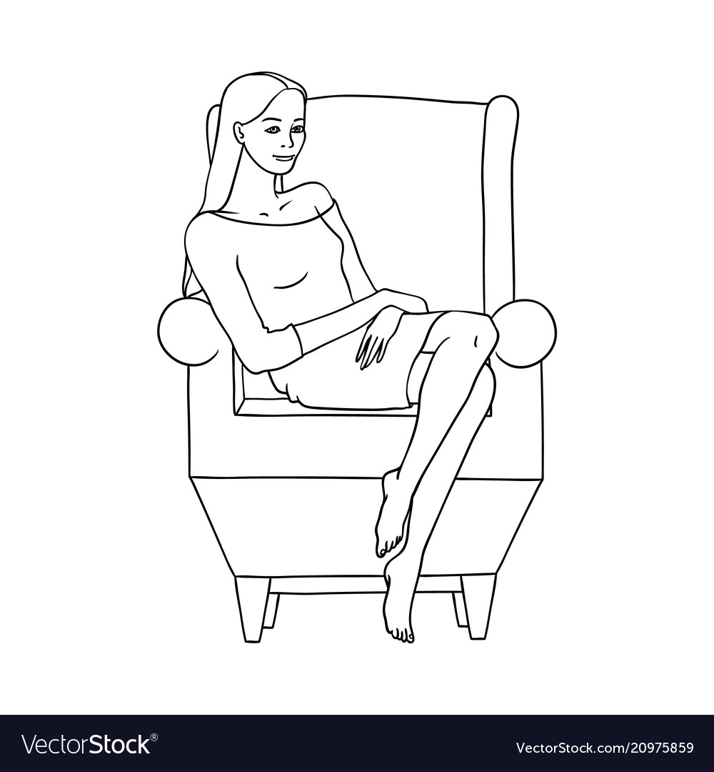 Sketch woman sitting at armchair resting vector image