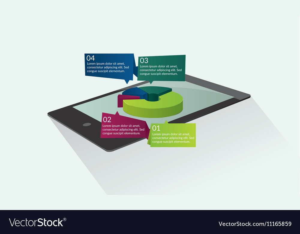 Tablet with graphic pie
