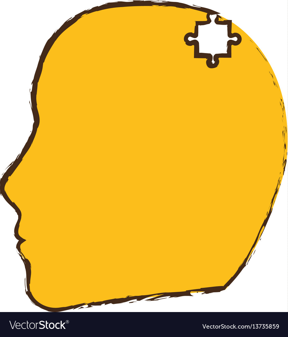 Yellow head puzzle pieces image vector image