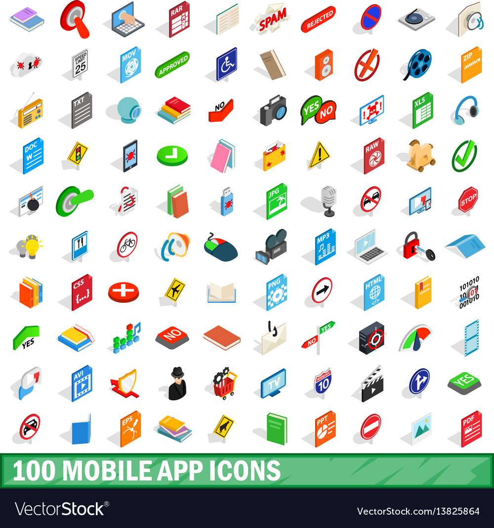 100 mobile app icons set isometric 3d style