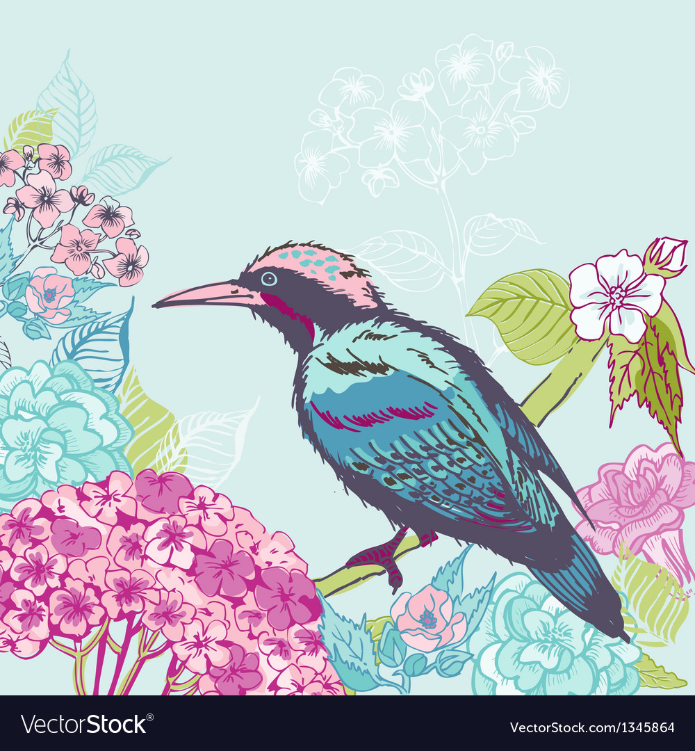 Bird with Flowers Background