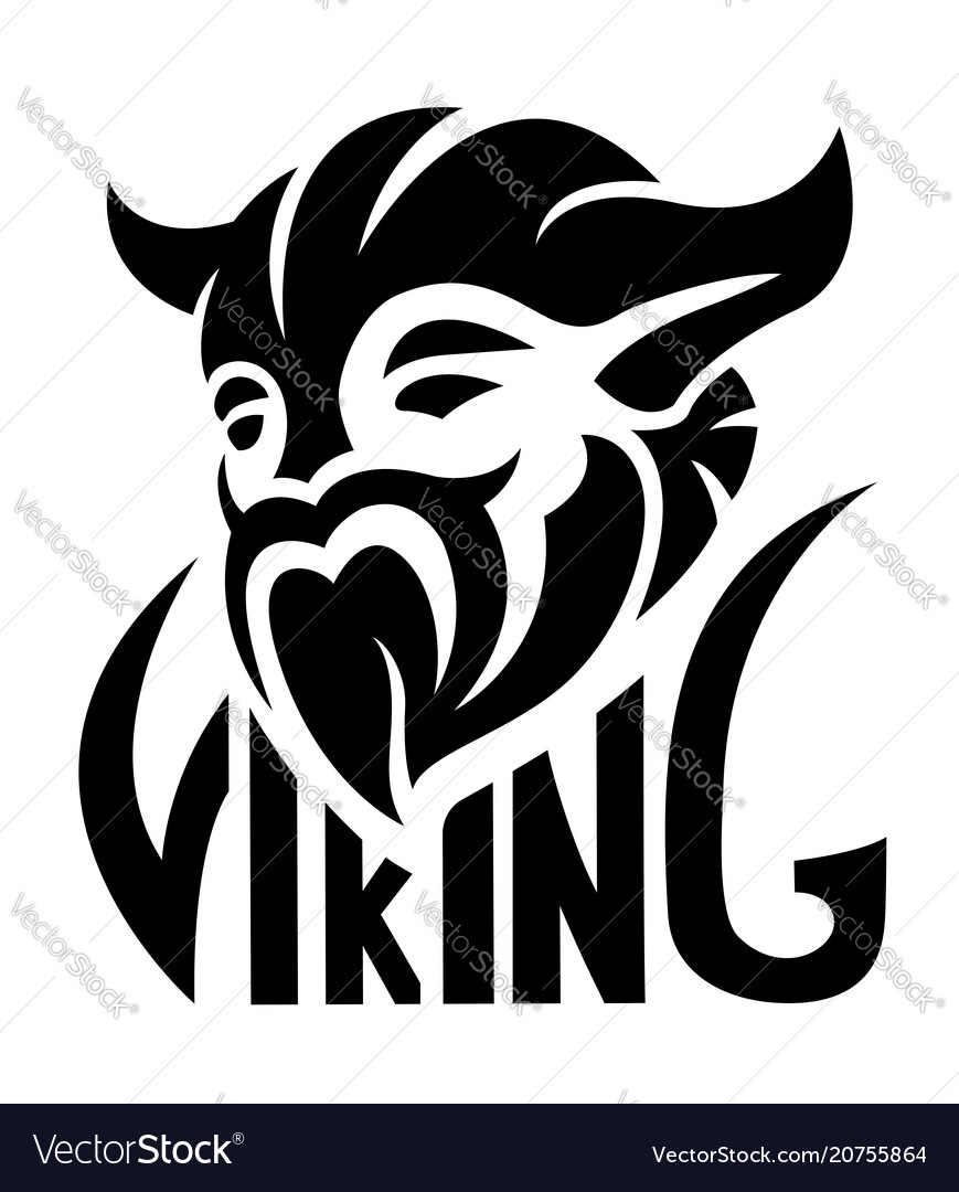 Black simple logo with viking