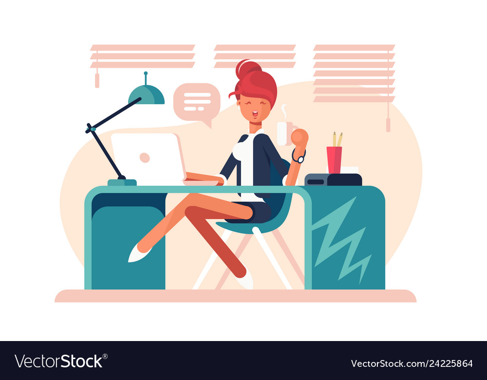 Cartoon girl sitting at workplace