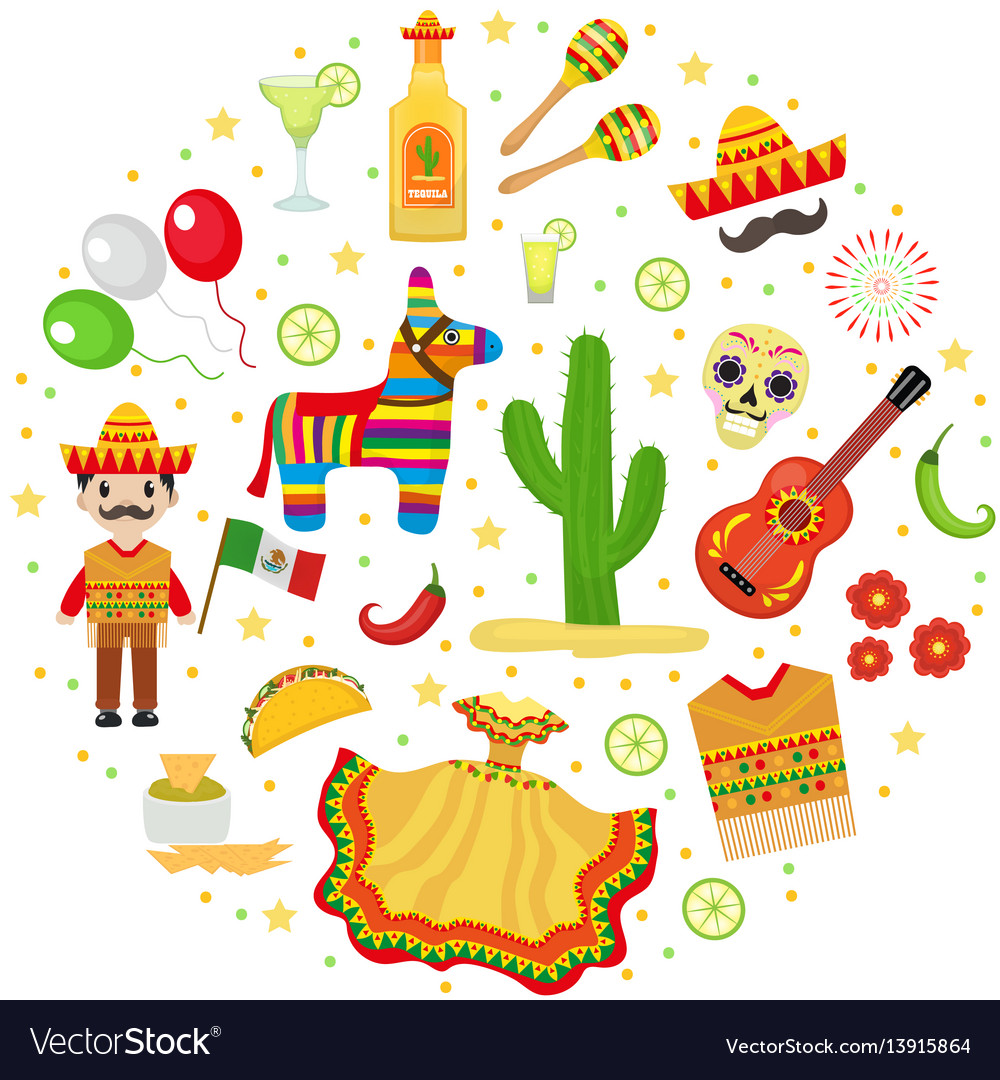 Cinco de mayo celebration in mexico icons set in