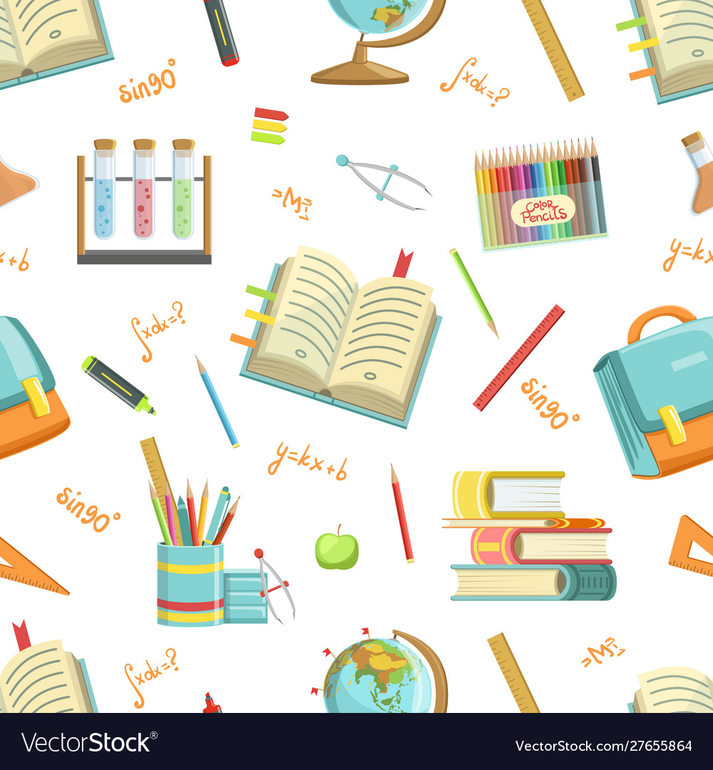 Education seamless pattern with school supplies