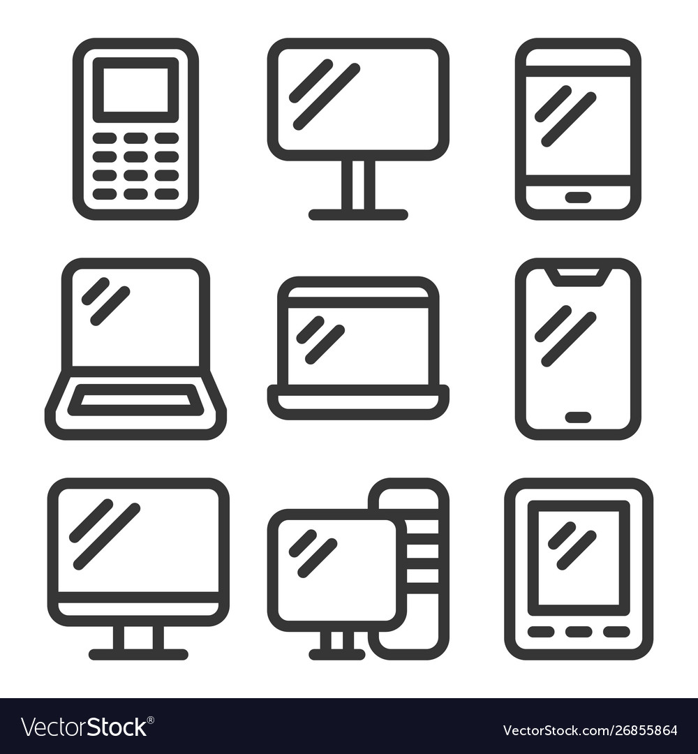 Electronic devices icons set on white background