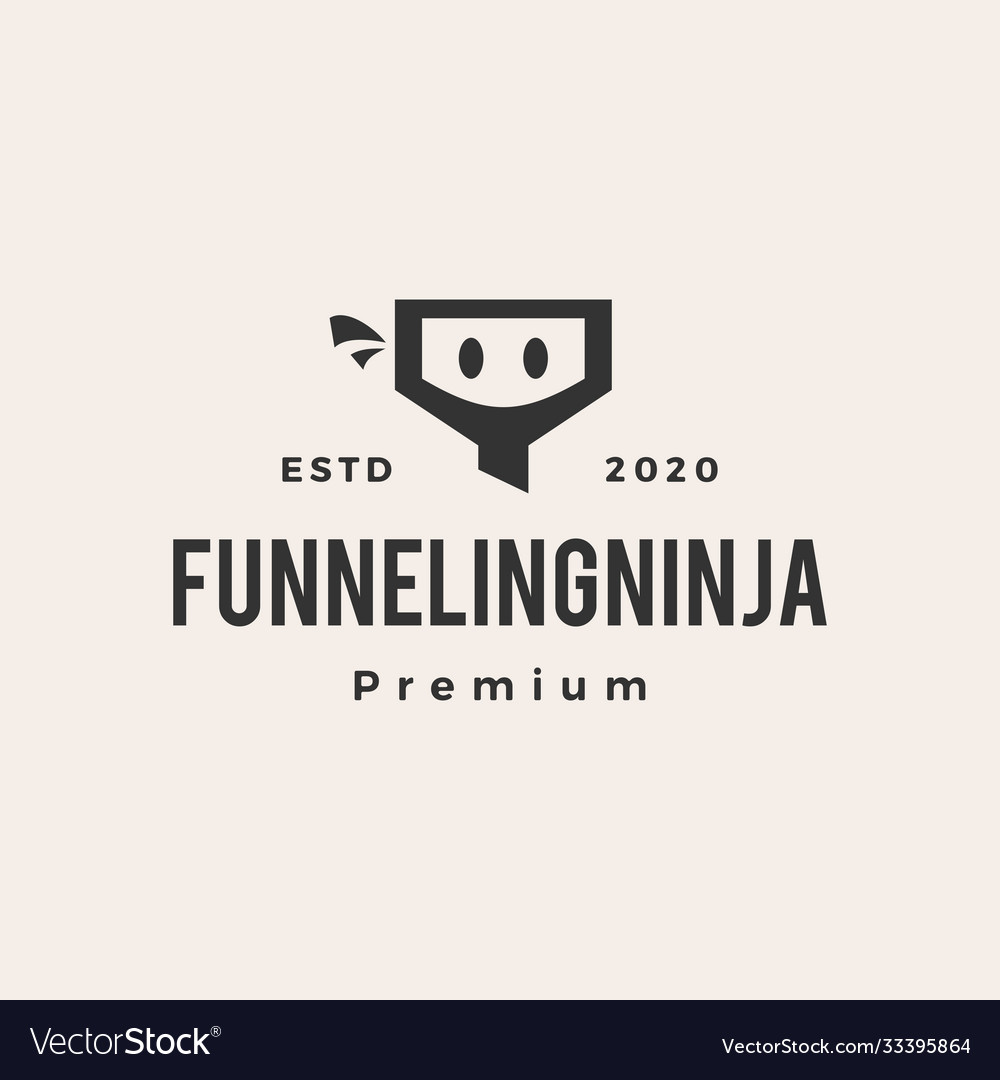Funneling ninja hipster vintage logo icon