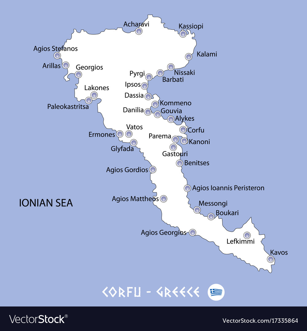 Island Of Corfu In Greece White Map And Blue Vector Image