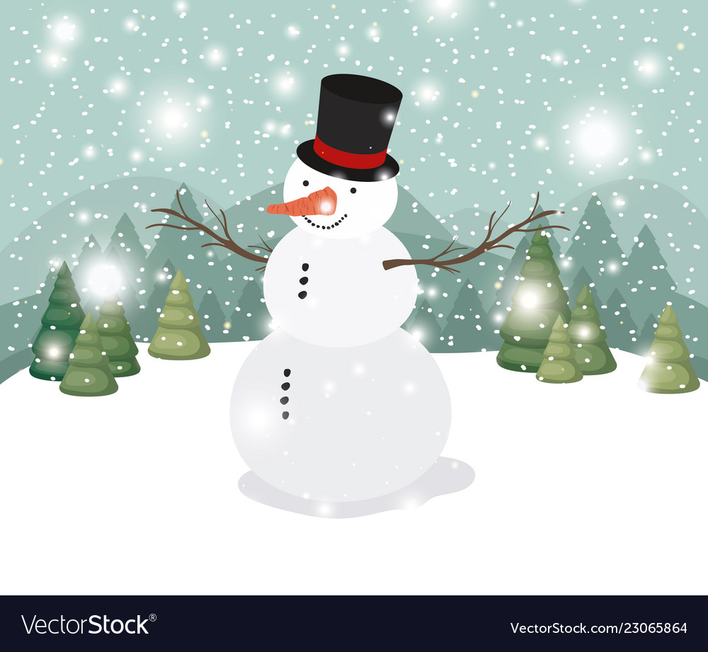 Mery Christmas.Mery Christmas Card With Snowman In Snowscape