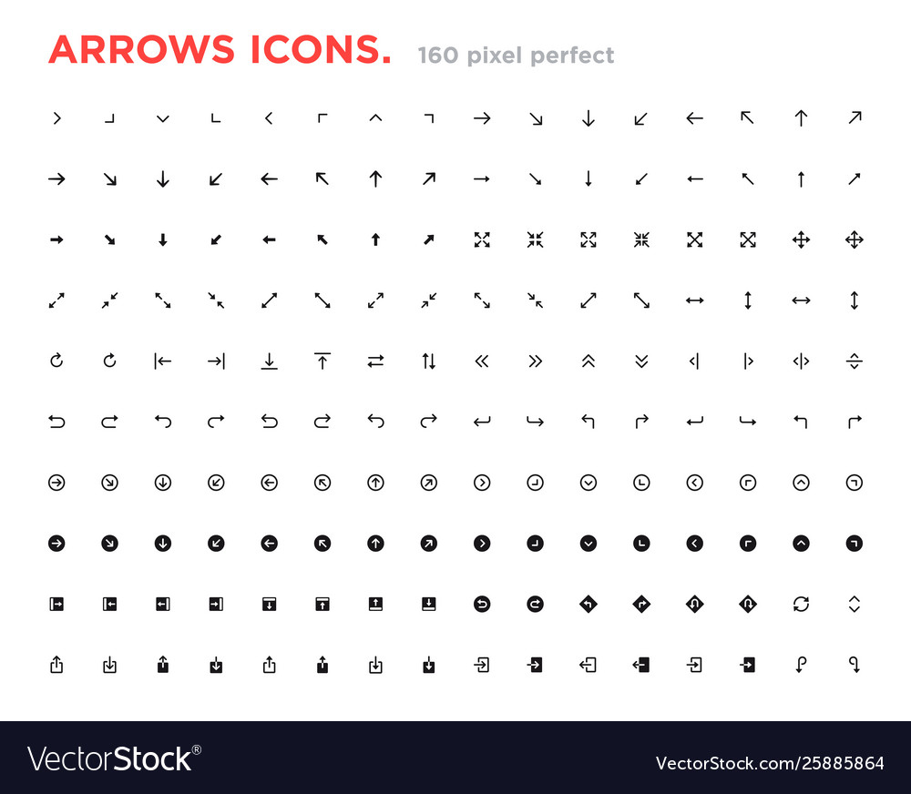 Set arrow icons arrows for website and app