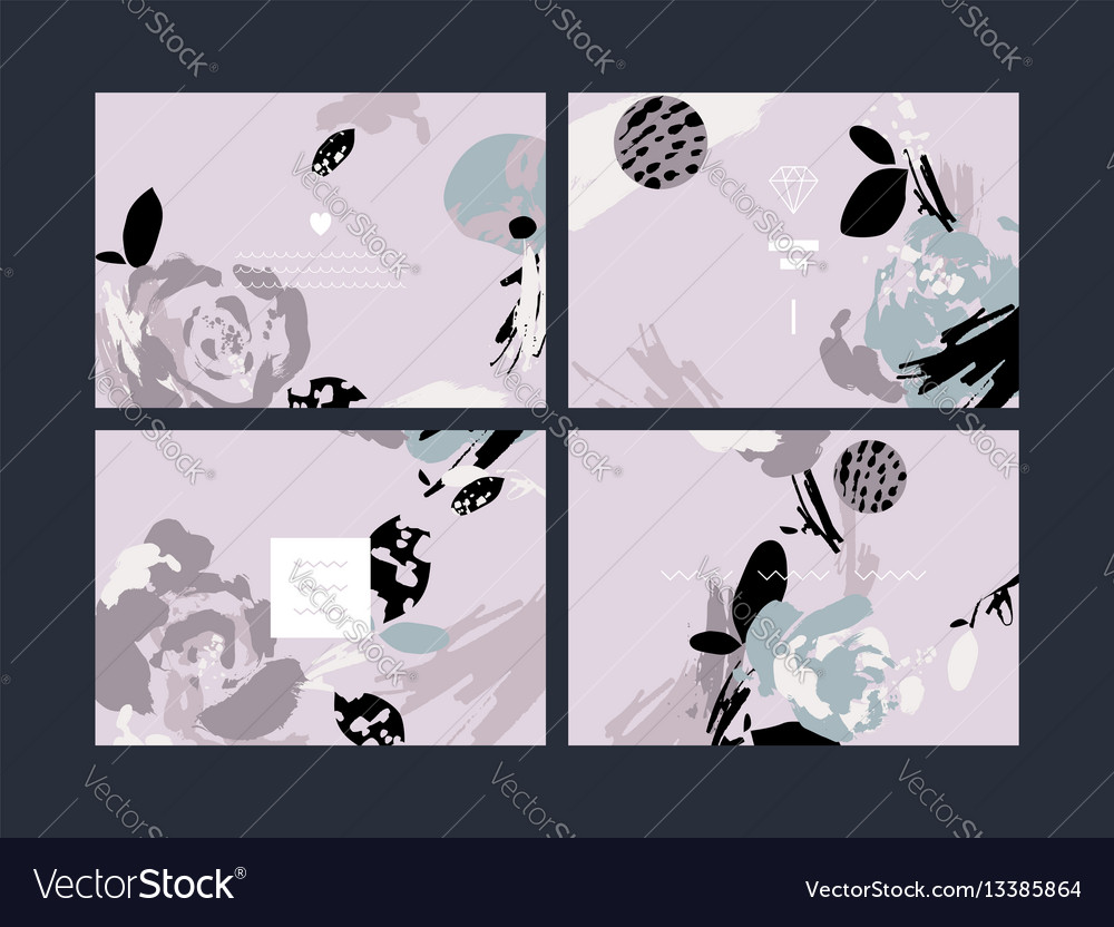 Set of abstract creative handmade greeting cards vector image m4hsunfo
