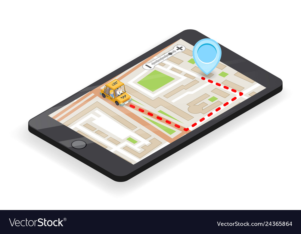 Taxi smartphone app phone call 3d isometric city