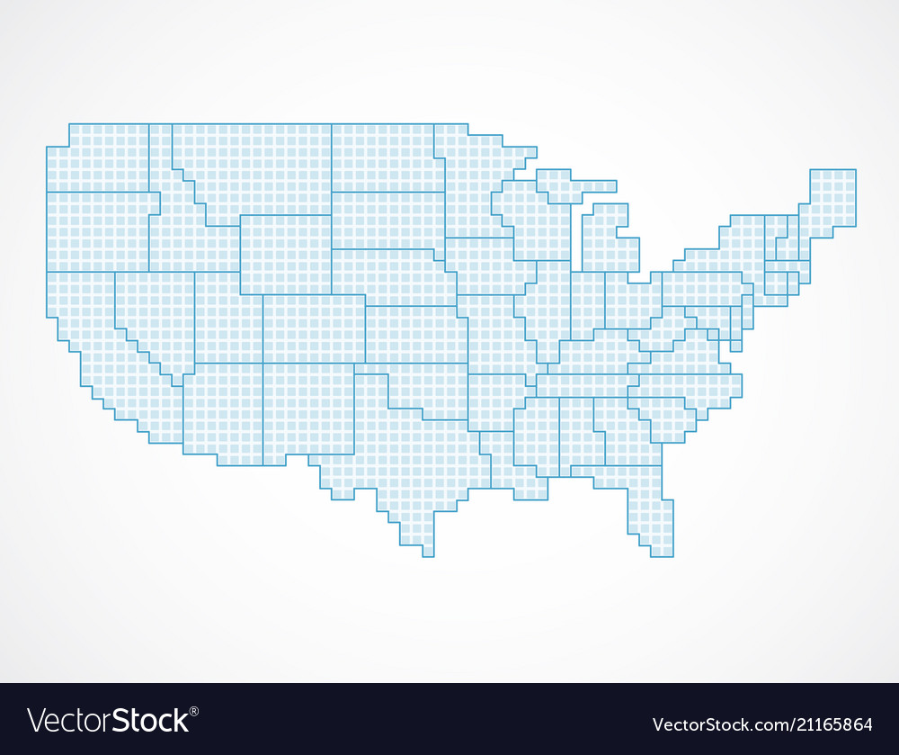United states blank map with borders Royalty Free Vector