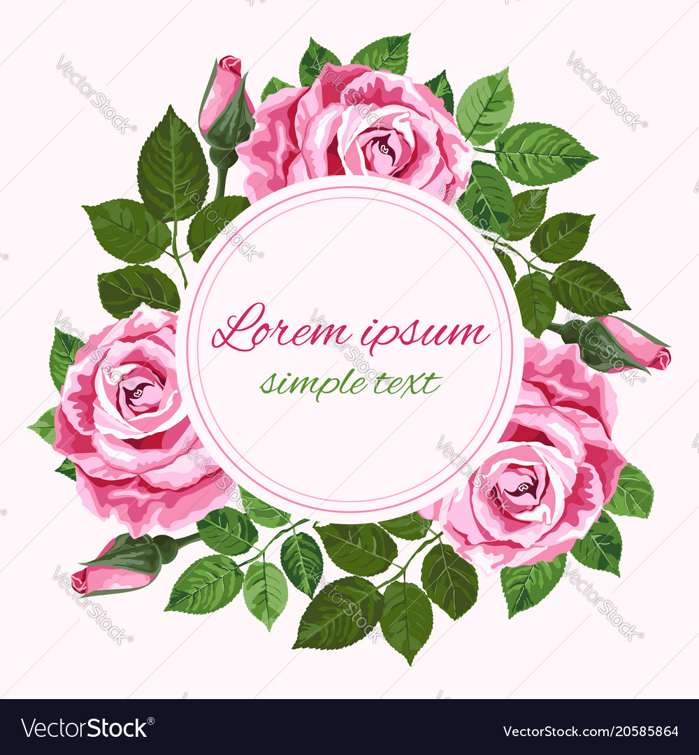 wedding invitations with pink roses wreath vector image