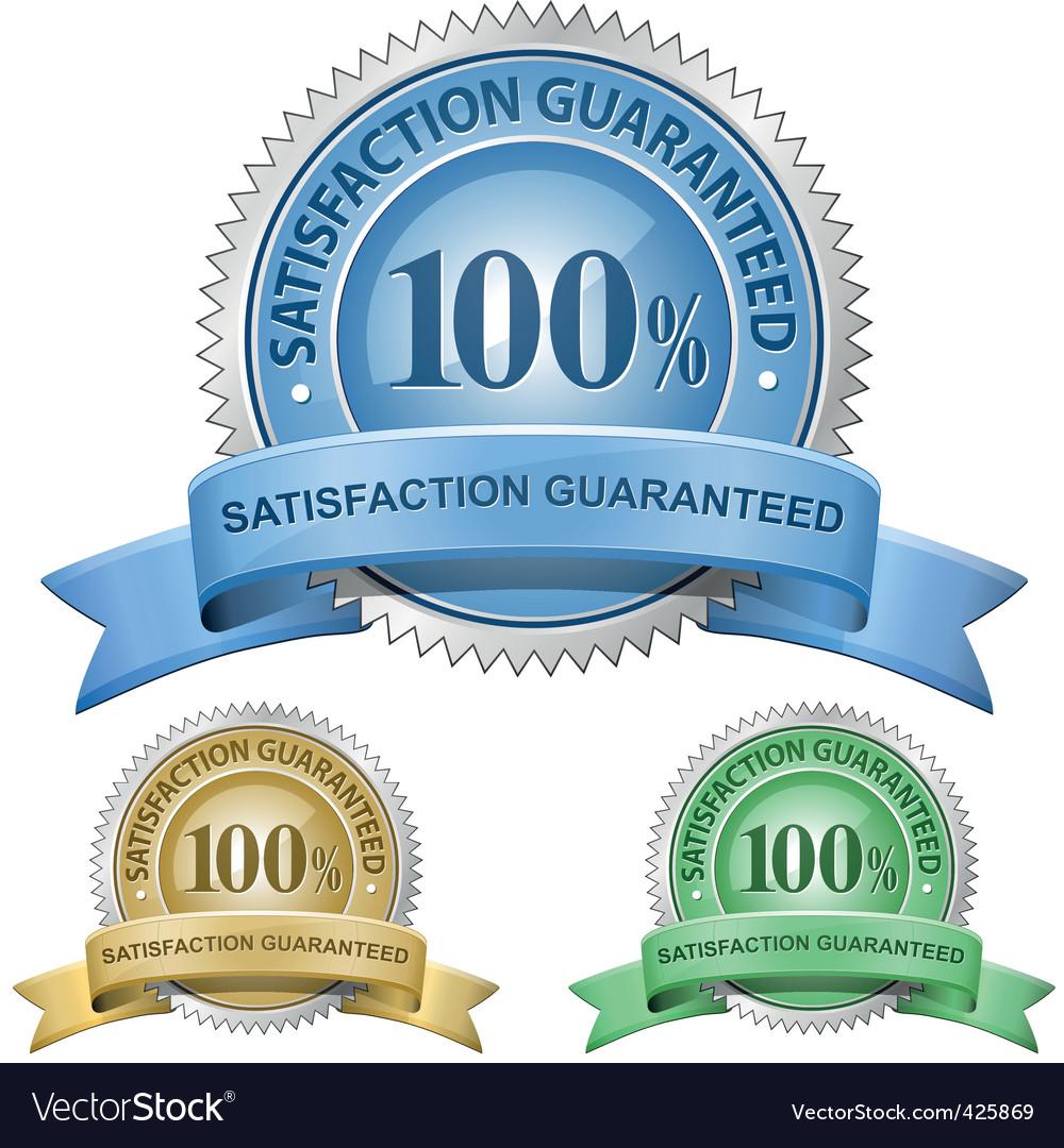 100% satisfaction guaranteed signs vector image