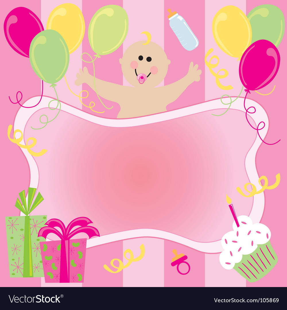 Baby girl birthday invitation Royalty Free Vector Image