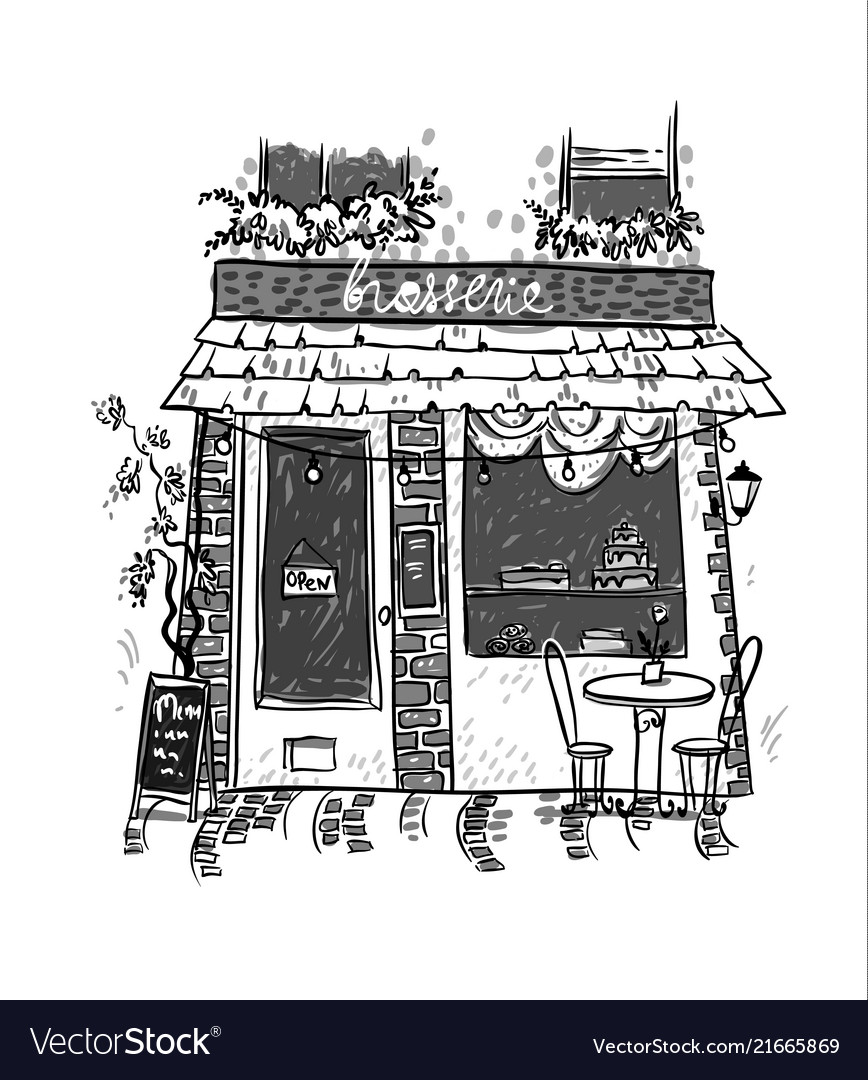 Brasserie little cosy cafe sketch