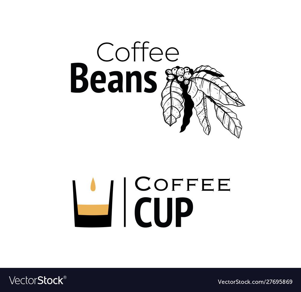 Coffee logo hand drawn and minimal cup