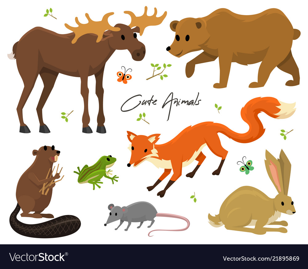 Cute animals for baby wild moose and deer hare