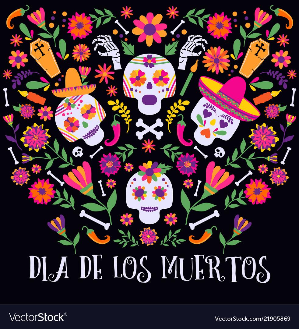 Day of the dead dia de los muertos banner with