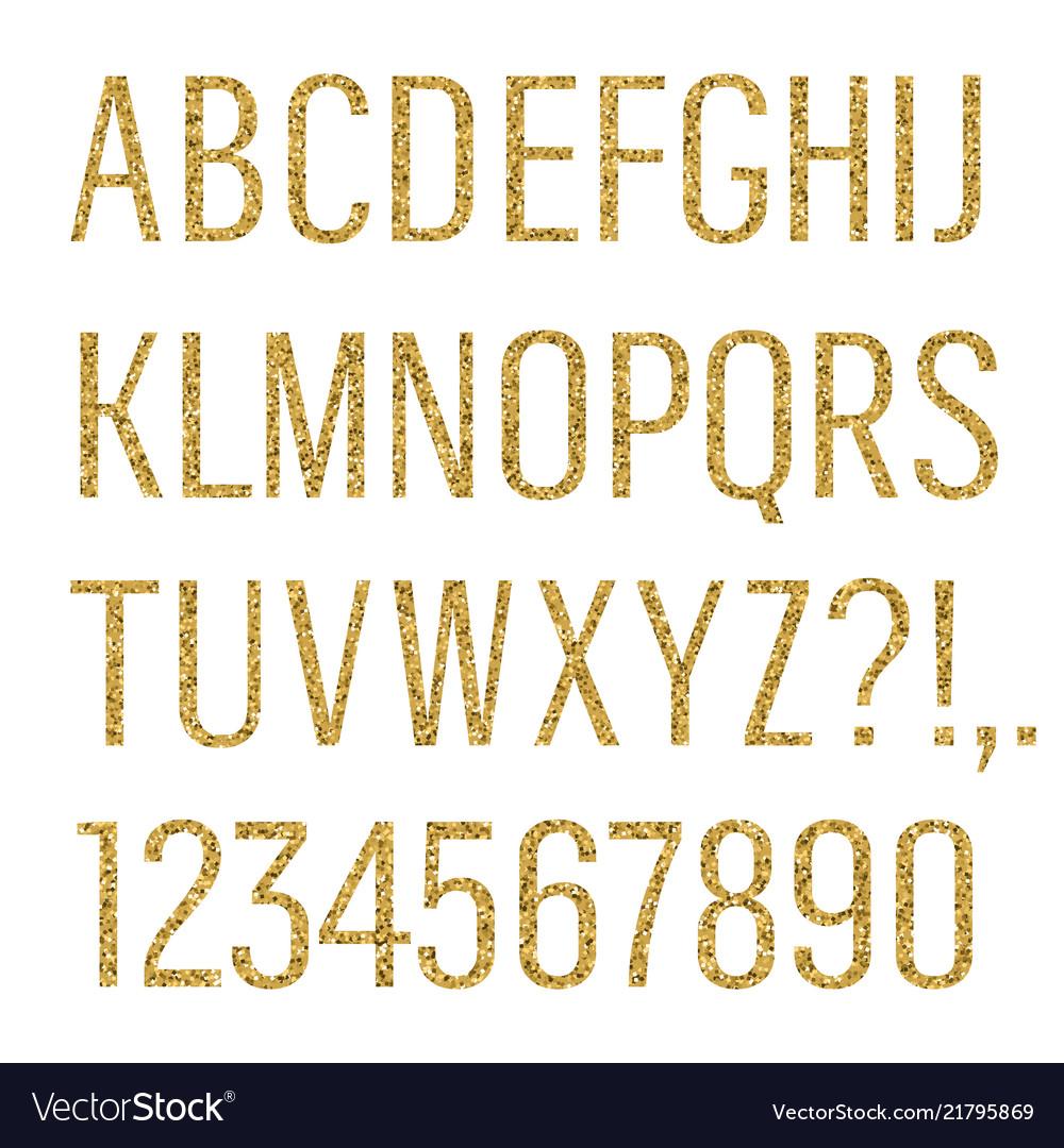 Glittering letters narrow sans serif font latin