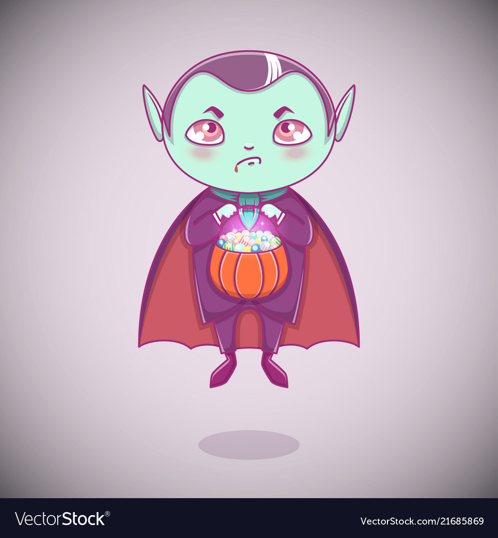 Halloween little vampire dracula boy kid with