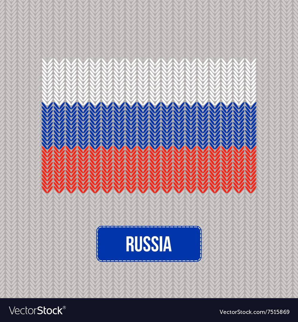 Knitting Russia flag Stylish background
