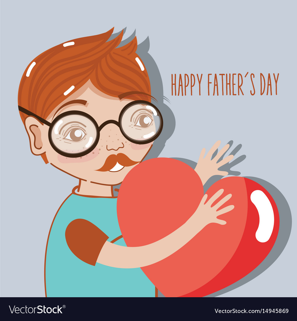 Man celebrating father day with heart in the hands vector image