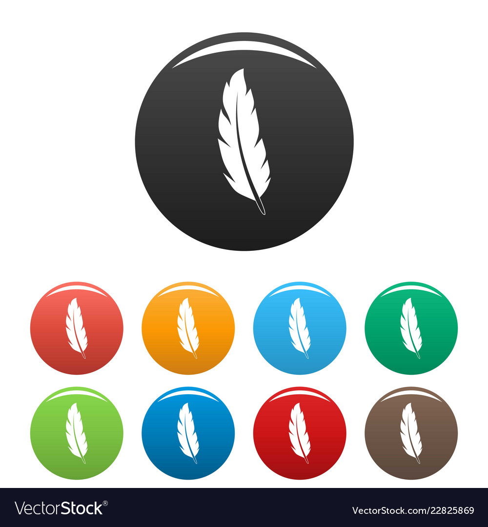 Peacock feather icons set color