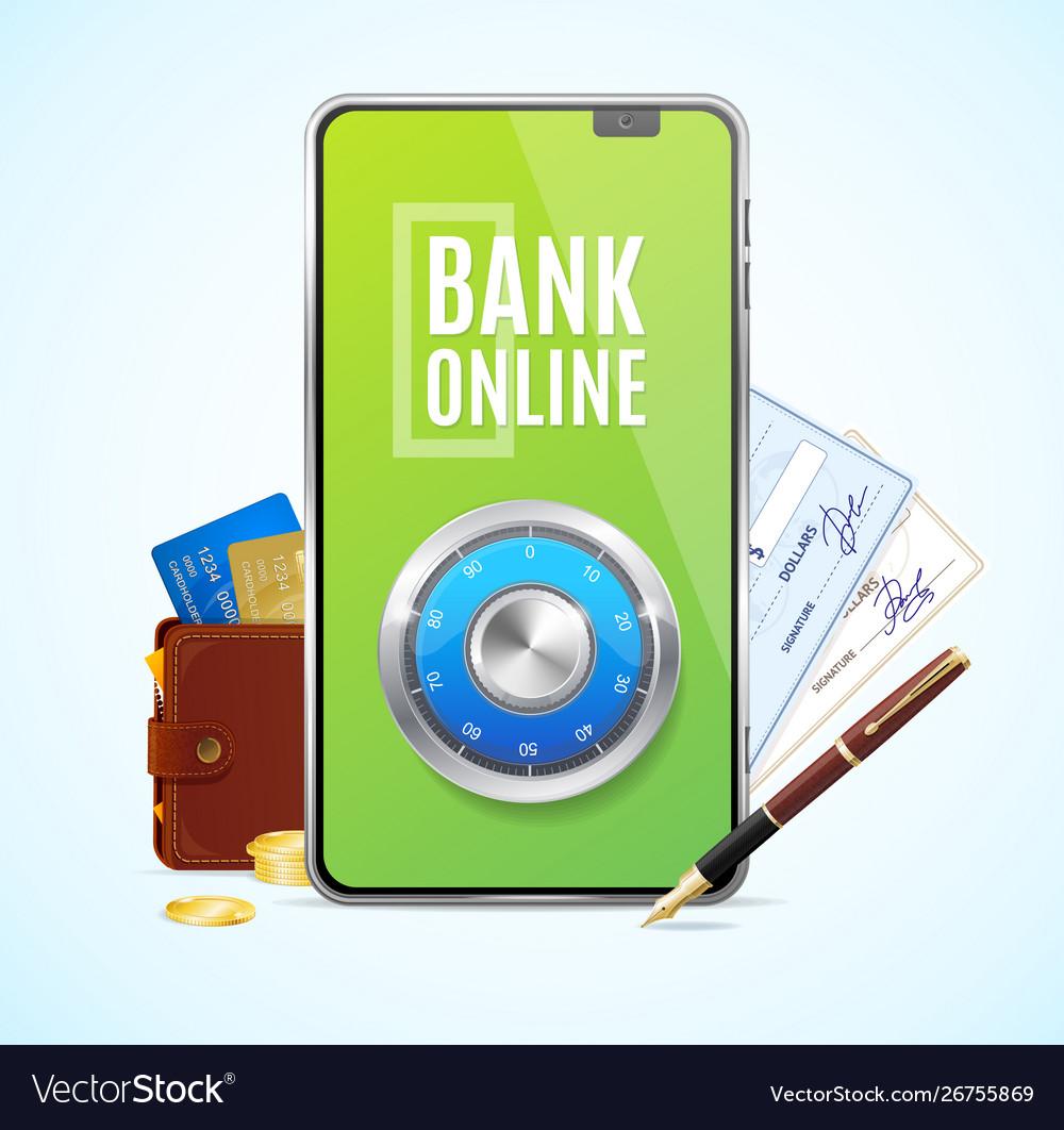 Realistic 3d detailed bank online app concept