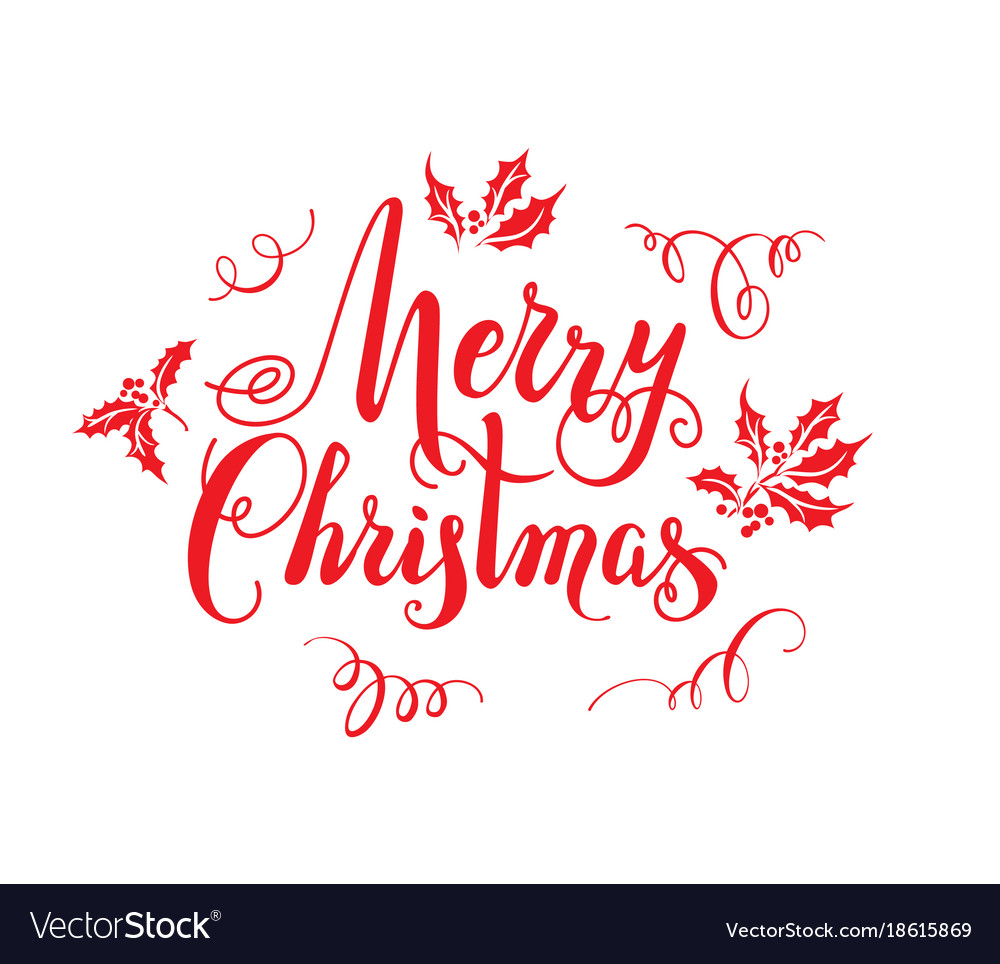 Christmas Lettering.Red Merry Christmas Lettering