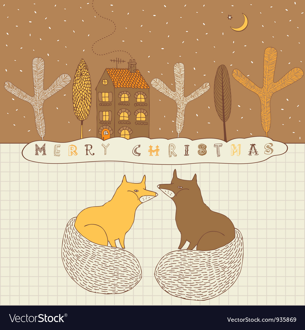 Retro Fox Christmas Card