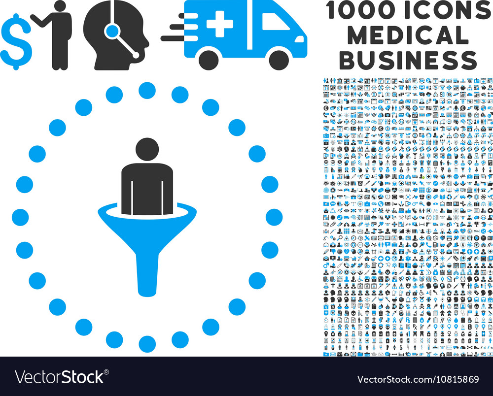 Sales funnel icon with 1000 medical business