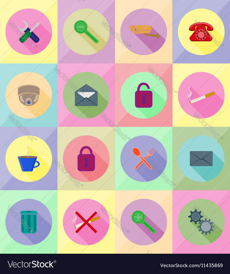 Service flat icons 19 vector image